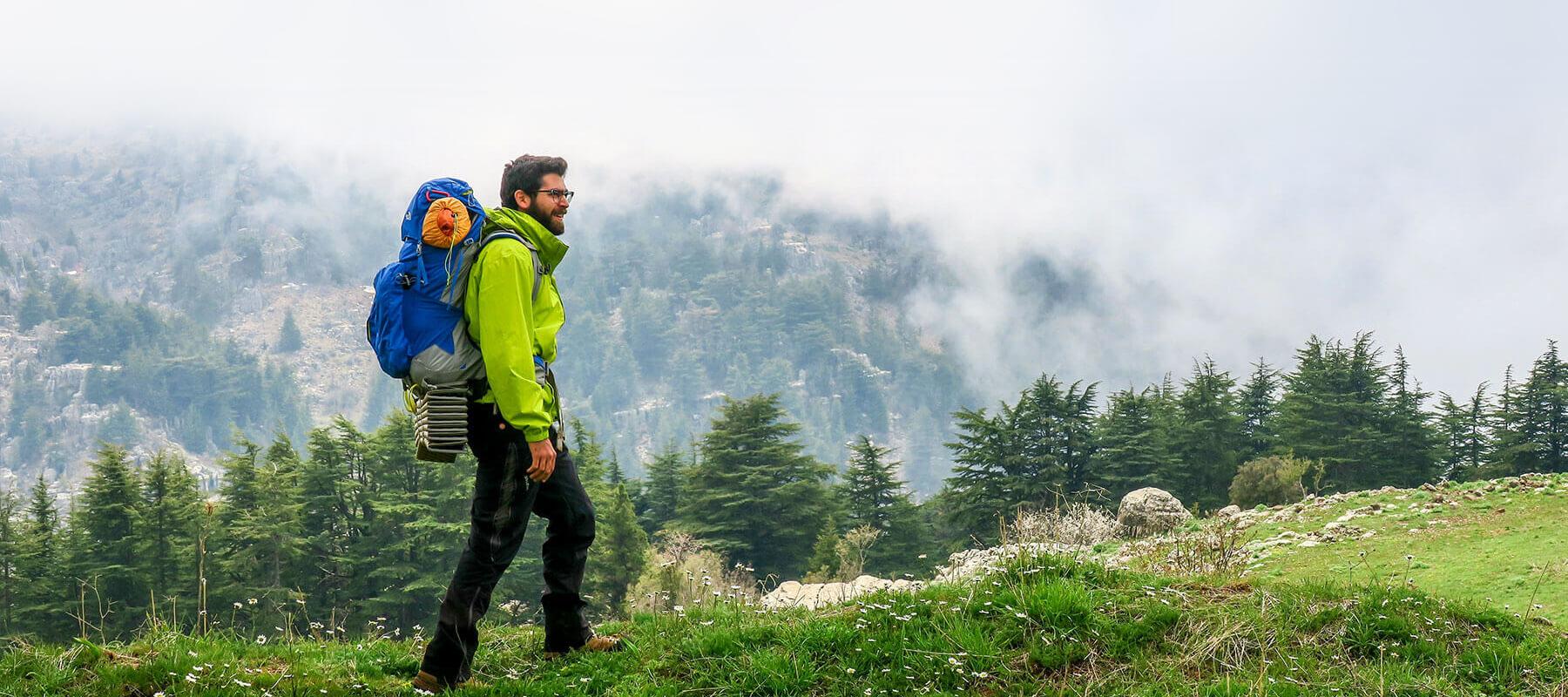 Man hiking in Tannourine Lebanon